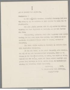 Conceptproclamatie 1947 D'Ailly ivm mogeijke staatsgreep, bron: stadsarchief Amsterdam