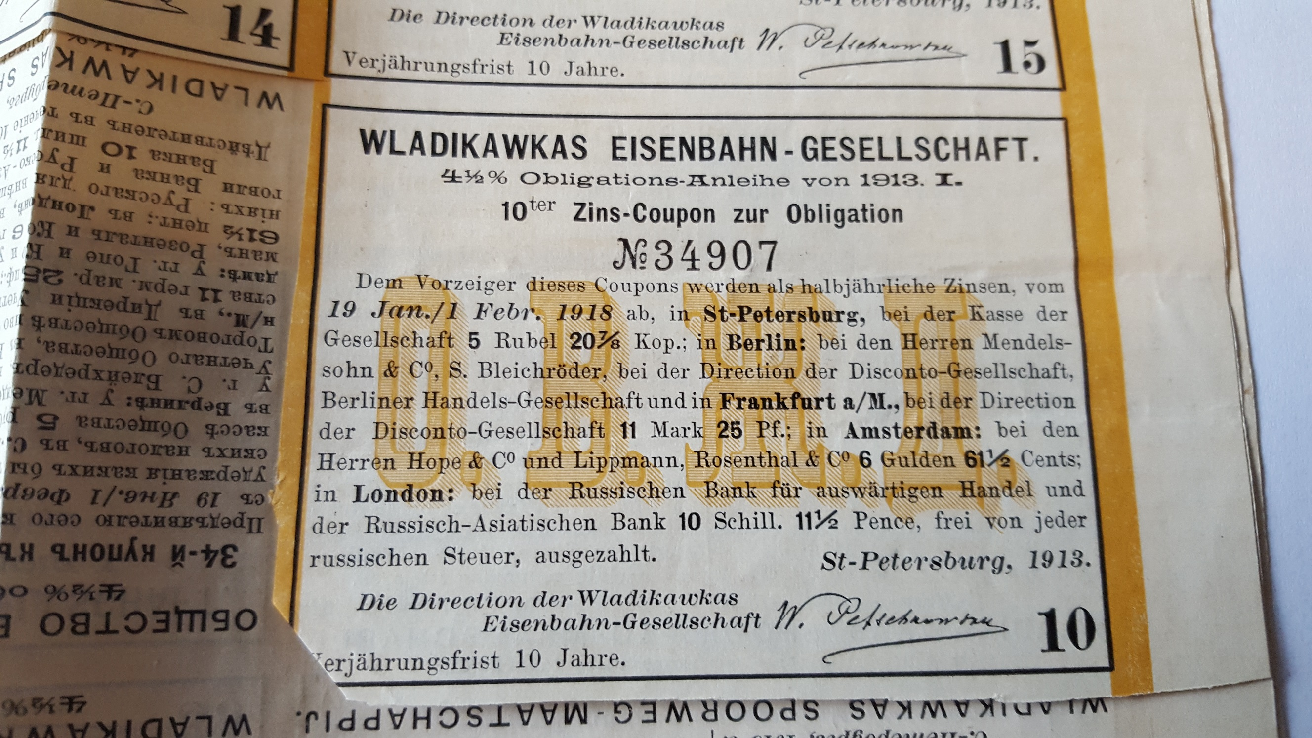 Coupon Februari 1918 voor 1913 Wladikawas obligatielening